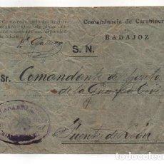 Sellos: BADAJOZ.- CARTA COMANDANCIA DE CARABINERO- AL COMANDANTE G.CIVIL- DE FUENTE LEON- VER FOTOS. Lote 208020315