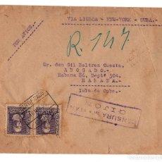 Sellos: CENSURA MILITAR GIJÓN. GUERRA CIVIL. CORREO POR AVIÓN VÍA LISBOA-NEW YORK-CUBA.MATASELLOS HABANA. Lote 208143446