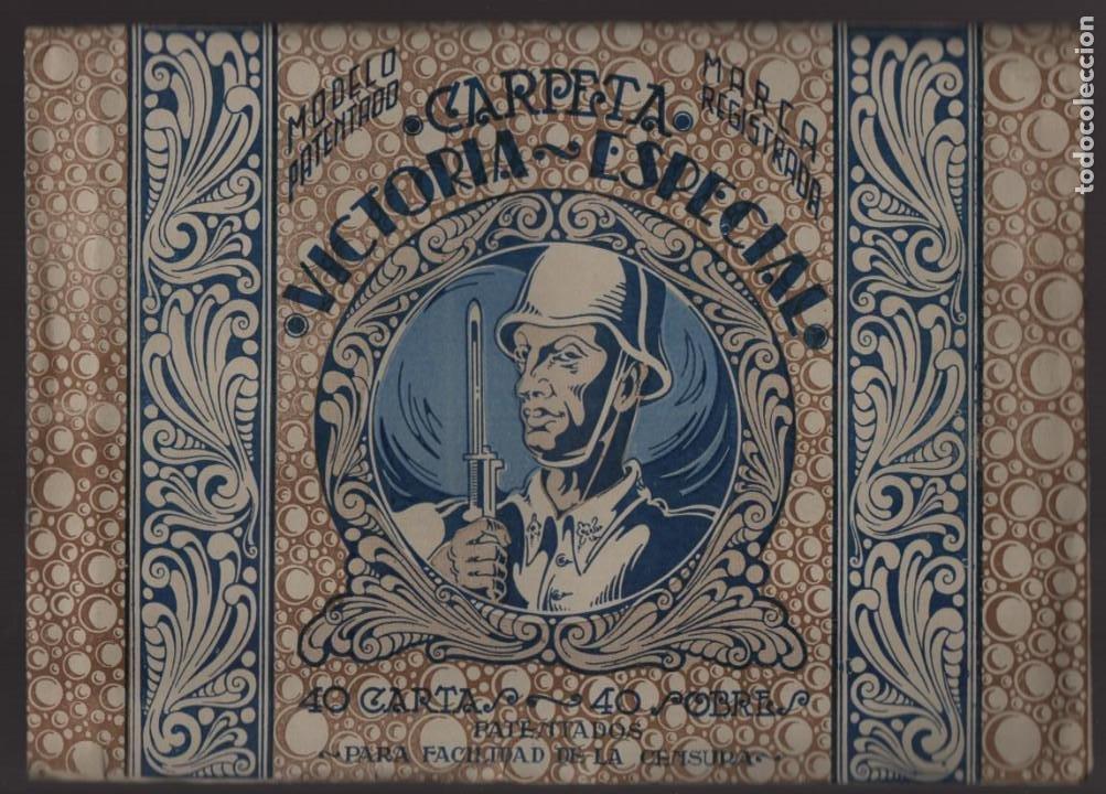 CARPETA CON 40 CARTAS Y SOBRE- VICTORIA ESPECIAL- NUEVAS COMPLETA- VER FOTOS (Sellos - España - Guerra Civil - Viñetas - Usados)