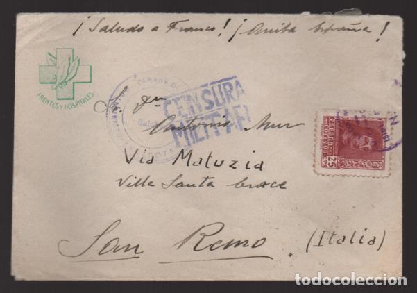 CARTA DEL FRENTE A SAN REMO-ITALIA- FRENTES Y HOSPITALE.- C.M. VER FOTO (Sellos - España - Guerra Civil - Locales - Cartas)