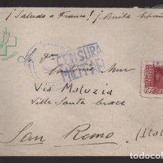 Sellos: CARTA DEL FRENTE A SAN REMO-ITALIA- FRENTES Y HOSPITALE.- C.M. VER FOTO. Lote 208472365