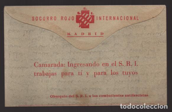 MADRID.- S.R.I. CARTA OBSEQUIO DEL S.R.I. AL COMBATIENTES ANTIFASCISTAS-ESTAFETA 49-FRENTE DEL ESTE, (Sellos - España - Guerra Civil - Locales - Cartas)