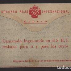 Sellos: MADRID.- S.R.I. CARTA OBSEQUIO DEL S.R.I. AL COMBATIENTES ANTIFASCISTAS-ESTAFETA 49-FRENTE DEL ESTE,. Lote 208472651