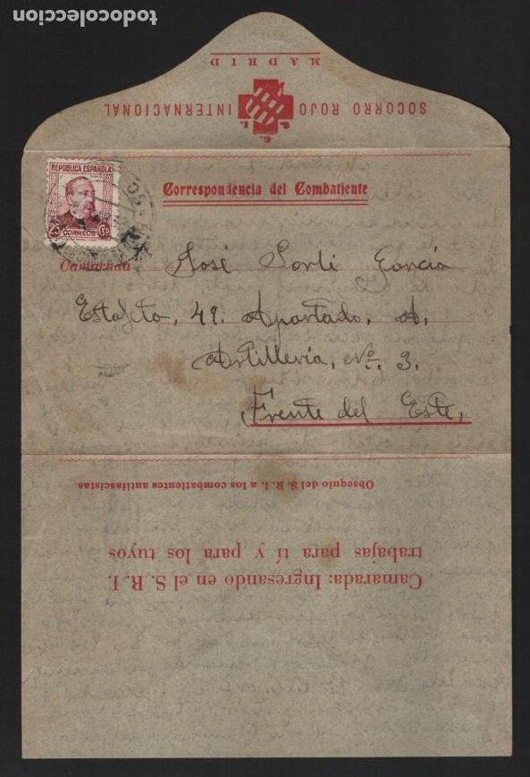 Sellos: MADRID.- S.R.I. CARTA OBSEQUIO DEL S.R.I. AL COMBATIENTES ANTIFASCISTAS-ESTAFETA 49-FRENTE DEL ESTE, - Foto 4 - 208472651