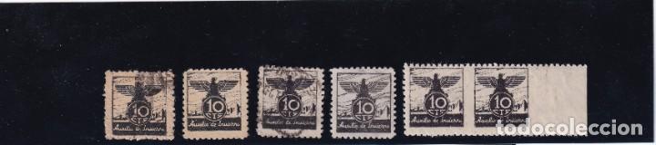 AUXILIO DE INVIERNO 6 VALORES VARIACIONES PAPEL Y DENTADO (Sellos - España - Guerra Civil - De 1.936 a 1.939 - Usados)
