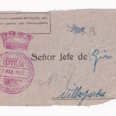 Sellos: FRONTAL FRANQUICIA CORREOS SAN SEBASTIAN. GIRO 1937. Lote 208821912