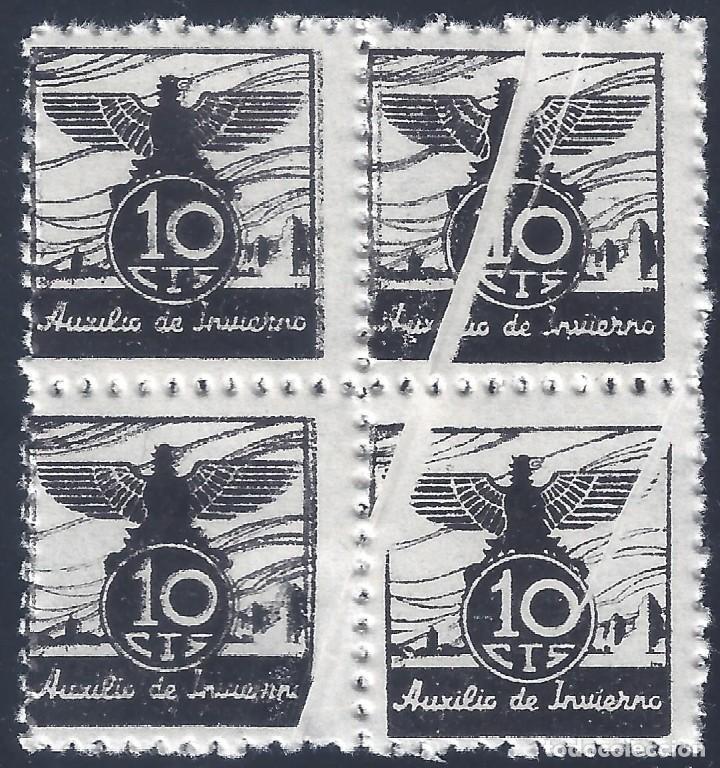 VIÑETA AUXILIO DE INVIERNO 1936 GÁLVEZ Nº 5 (BLOQUE DE 4) (VARIEDAD... FUELLES). MNH ** (Sellos - España - Guerra Civil - Viñetas - Nuevos)