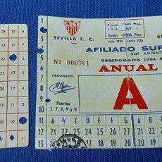 Sellos: CARNET TEMPORADA 1984/85 SEVILLA F.C. AFILIADO SUR. Lote 209054417