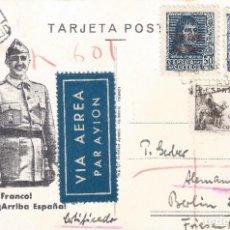 Sellos: TARJETA POSTAL FRANCO. AÑO 1938. VALLADOLID-ALEMANIA. CENSURA MILITAR. DIFÍCIL ASÍ. LUJO.. Lote 209393147