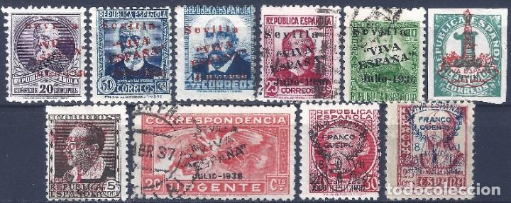 SEVILLA 1937. EMISIONES LOCALES PATRIÓTICAS. LOTE DE 10 SELLOS. MH * (Sellos - España - Guerra Civil - Locales - Nuevos)