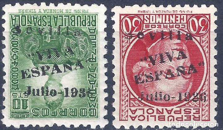 SEVILLA 1937. EMISIONES LOCALES PATRIÓTICAS. 2 SELLOS (VARIEDAD...HABILITACIÓN INVERTIDA). MNH ** (Sellos - España - Guerra Civil - Locales - Nuevos)