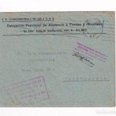 Sellos: SOBRE FRENTES Y HOSPITALES VIZCAYA FRANQUICIA BILBAO A PORTUGALETE 24-08-37. Lote 209451922