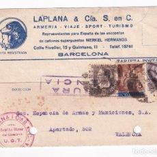 Sellos: 1937 BARCELONA A VALENCIA. COMITE OBRERO UGT ARMERIA LAPLANA. Lote 209482483