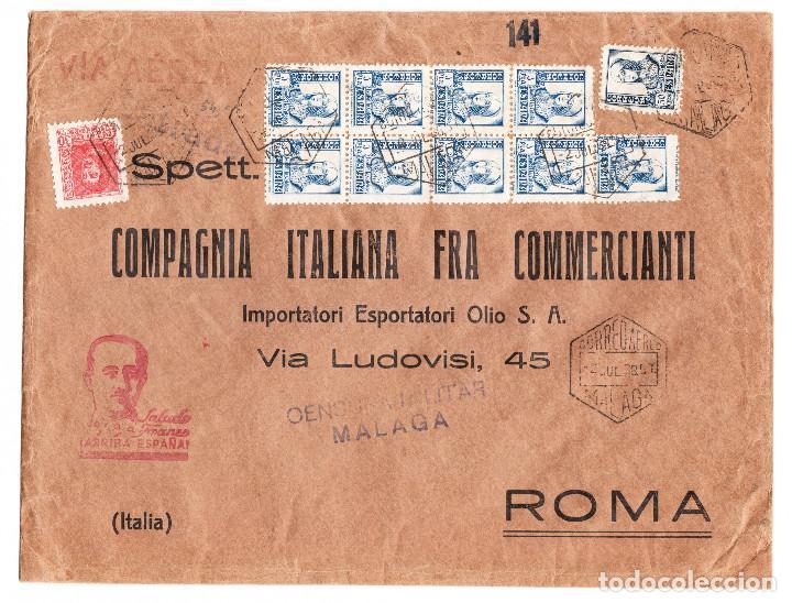 SOBRE COMPAGNIA ITALIANA FRA COMMERCIANTI CORREO AÉREO MÁLAGA (Sellos - España - Guerra Civil - De 1.936 a 1.939 - Cartas)