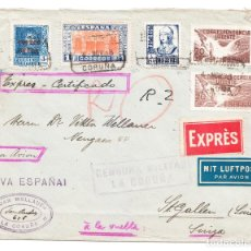 Sellos: 4 NOV 1938 CORREO EXPRÈS AÉREO LA CORUÑA ST. GALLEN SUIZA JUAN WELLAUER CENSURA MILITAR LA CORUÑA. Lote 209614415
