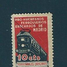 Sellos: V1-3 GUERRA CIVIL MADRID PRO HUERFANOS DE FERROVIARIOS (FERROCARRILES CATALANES) FESOFI Nº 39 VALOR. Lote 209666355