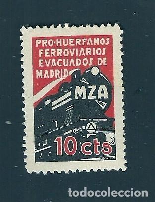 V1-3 GUERRA CIVIL MADRID PRO HUERFANOS DE FERROVIARIOS MZA FESOFI Nº 37 VALOR 10 CTS. COLOR NEGRO Y (Sellos - España - Guerra Civil - Locales - Nuevos)