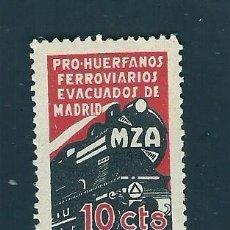 Sellos: V1-3 GUERRA CIVIL MADRID PRO HUERFANOS DE FERROVIARIOS MZA FESOFI Nº 37 VALOR 10 CTS. COLOR NEGRO Y. Lote 209666498