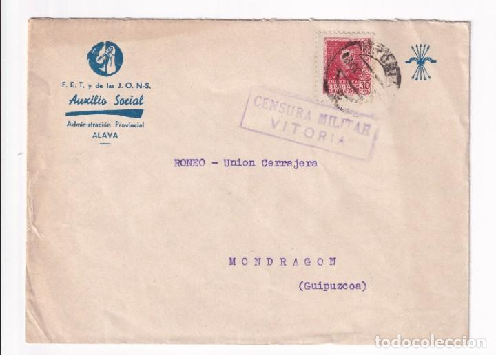 AUXILIO SOCIAL SOBRE MEMBRETADO. VITORIA A MONDRAGON. 19 OCTUBRE 1938 (Sellos - España - Guerra Civil - De 1.936 a 1.939 - Cartas)