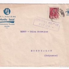 Timbres: AUXILIO SOCIAL SOBRE MEMBRETADO. VITORIA A MONDRAGON. 19 OCTUBRE 1938. Lote 209814070