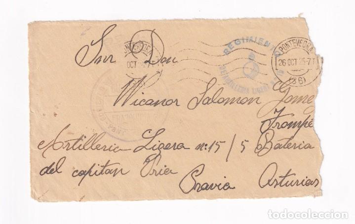 FRONTAL FRANQUICIA GOBIERNO MILITAR PONTEVEDRA MARCA ARTILLERIA A PRAVIA ASTURIAS (Sellos - España - Guerra Civil - De 1.936 a 1.939 - Cartas)