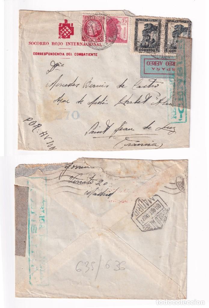 SOBRE SOCORRO ROJO INTERNACIONAL. CORREO AÉREO 23 OCT 1938 MADRID A SAN JUAN DE LUZ (Sellos - España - Guerra Civil - De 1.936 a 1.939 - Cartas)