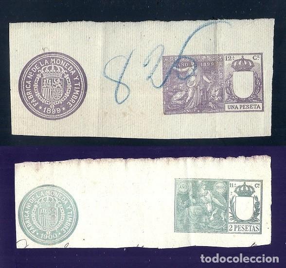 V1-7 FISCALES DOS SELLOS VALOR 1 PESETA DE 1899 Y 2 PESETAS DE 1900 (Sellos - España - Guerra Civil - Viñetas - Nuevos)
