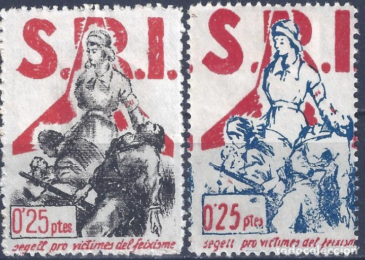 S.R.I. SEGELL PRO-VICTIMES DEL FEIXISME 1937 (SERIE COMPLETA). GUILLAMÓN 1605-1606. MUY ESCASA. MH * (Sellos - España - Guerra Civil - Viñetas - Nuevos)