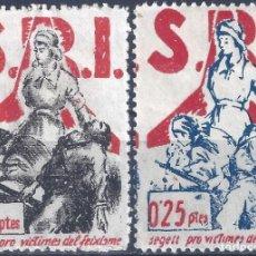 Sellos: S.R.I. SEGELL PRO-VICTIMES DEL FEIXISME 1937 (SERIE COMPLETA). GUILLAMÓN 1605-1606. MUY ESCASA. MH *. Lote 210114588