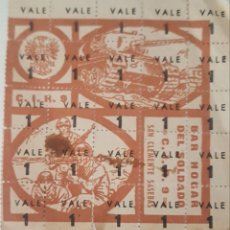 Sellos: VALE BAR HOGAR DEL SOLDADO SAN CLEMENTE SASEBAS. Lote 210200257