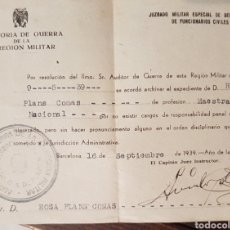 Sellos: GUERRA CIVIL AUDITORIA DE GUERRA DE LA REGION MILITAR BARCELONA 1939. Lote 210288106