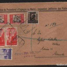 "Sellos: ZONE DU PROTECTORAT D"" ESPAGNE AU MAROC- REVERSO; CORREO ESPAÑOL -CERTIFICADO-TETUAN-MARRUECOS-LACRA. Lote 210373243"