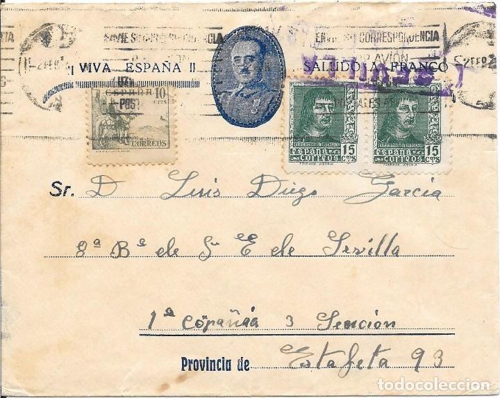 EDIFIL 841 - 817. SOBRE CIRCULADO DE SEVILLA A FALANGISTA EN LA ESTAFETA DE CAMPAÑA 93. (Sellos - España - Guerra Civil - De 1.936 a 1.939 - Cartas)