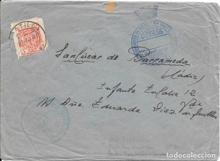 SOBRE CIRCULADO DE MONTILLA A SANLUCAR. FRANQUICIA RGTO CASTILLA 1937 (Sellos - España - Guerra Civil - De 1.936 a 1.939 - Cartas)