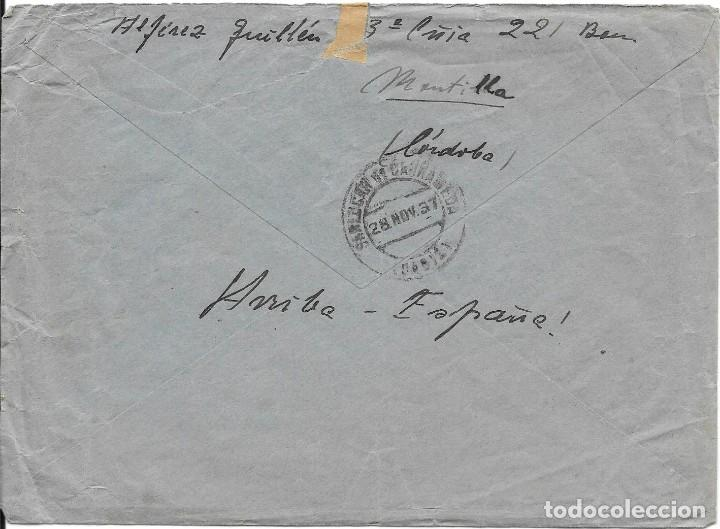 Sellos: SOBRE CIRCULADO DE MONTILLA A SANLUCAR. FRANQUICIA RGTO CASTILLA 1937 - Foto 2 - 210468156
