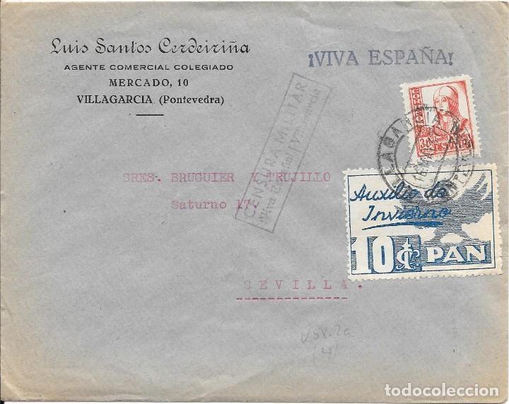 EDIFIL 823 + AUXILIO DE INVIERNO. DE VILLAGARCIA - PONTEVEDRA A SEVILLA. 1937 (Sellos - España - Guerra Civil - De 1.936 a 1.939 - Cartas)