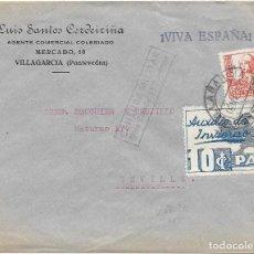 Sellos: EDIFIL 823 + AUXILIO DE INVIERNO. DE VILLAGARCIA - PONTEVEDRA A SEVILLA. 1937. Lote 210469922