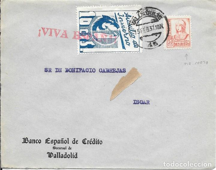 EDIFIL 823A PIE CORTO + AUXILIO DE INVIERNO. DE VALLADOLID A ISCAR. 1937 (Sellos - España - Guerra Civil - De 1.936 a 1.939 - Cartas)