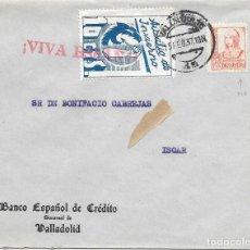 Sellos: EDIFIL 823A PIE CORTO + AUXILIO DE INVIERNO. DE VALLADOLID A ISCAR. 1937. Lote 210470413