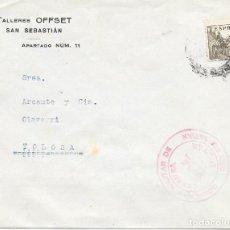 Sellos: EDIFIL 816 + VIÑETA CRUZADA CONTRA EL FRIO AL DORSO. DE SAN SEBASTIAN A TOLOSA. 1938. Lote 210470800