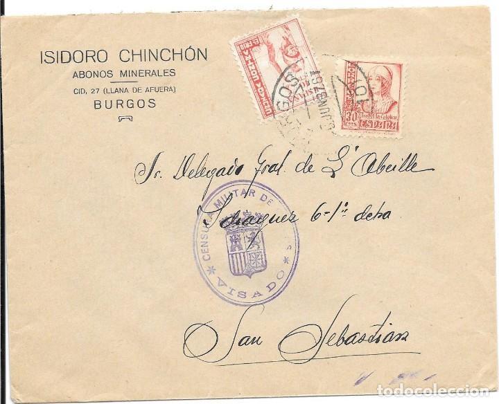EDIFIL 823 + CRUZADA CONTRA EL FRIO. DE BURGOS A SAN SEBASTIAN. 1937 (Sellos - España - Guerra Civil - De 1.936 a 1.939 - Cartas)