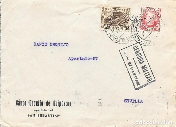EDIFIL 686 + CRUZADA CONTRA EL FRIO. DE SAN SEBASTIAN A SEVILLA. 1937 (Sellos - España - Guerra Civil - De 1.936 a 1.939 - Cartas)