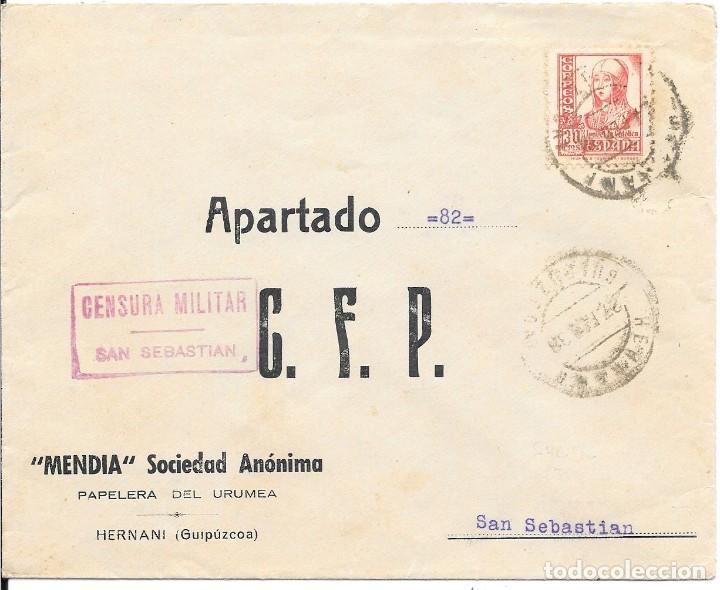 EDIFIL 823 + CRUZADA CONTRA EL FRIO. DE HERNANI A SAN SEBASTIAN. 1938 (Sellos - España - Guerra Civil - De 1.936 a 1.939 - Cartas)