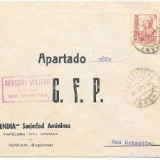 Sellos: EDIFIL 823 + CRUZADA CONTRA EL FRIO. DE HERNANI A SAN SEBASTIAN. 1938. Lote 210472608