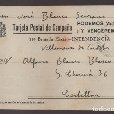 Sellos: VILLANUEVA DE CORDOBA,- A CASTELLON-POSTAL DE CAMPAÑA.- 114 BRIGADA MIXTA. VER FOTOS. Lote 210491635