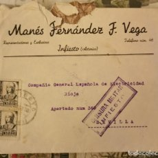 Timbres: INFIESTO, ASTURIAS, 1938, SOBRE CIRCULADO A SEVILLA, CENSURA MILITAR, VER IMAGENES. Lote 210604611