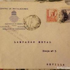 Sellos: CENSURA MILITAR SANLUCAR DE BARRAMEDA, 1937, SOBRE COMERCIAL CENTRO DE INSTALACIONES. Lote 210605538