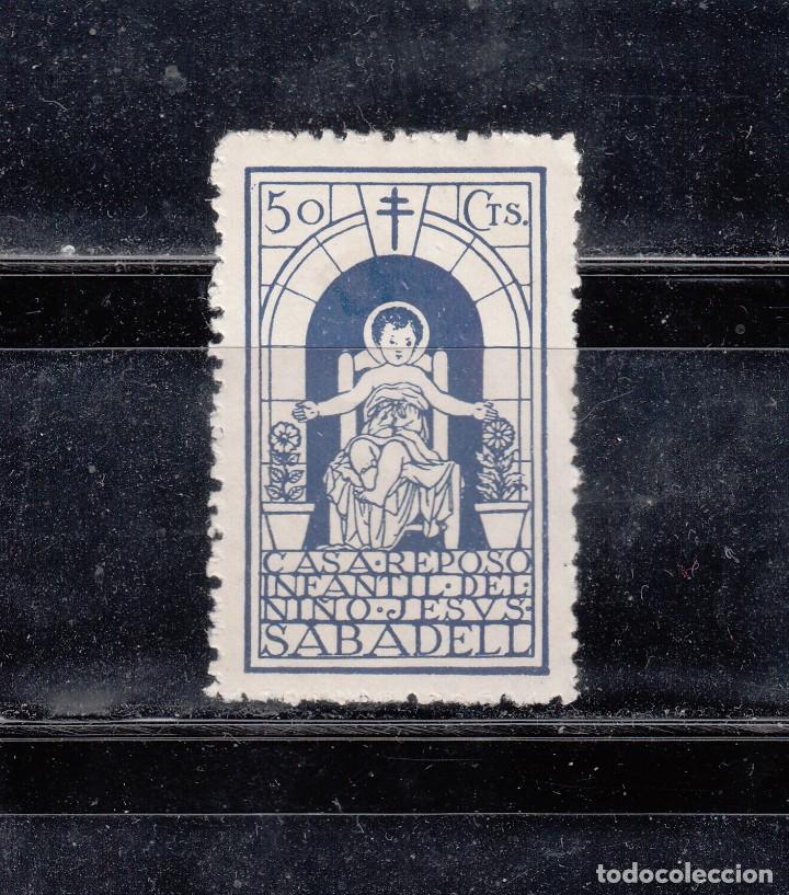 SABADELL. CASA DE REPOSO INFANTILDEL NIÑO JESUS. 50 CTS. (Sellos - España - Guerra Civil - Locales - Nuevos)