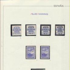 Sellos: CANARIAS. 7 SELLOS NUEVOS CON GOMA. PRO LAS PALMAS 5CTS., HABILITADO 10 CTS. BENÉFICO SOCIAL, CALVO. Lote 210960866
