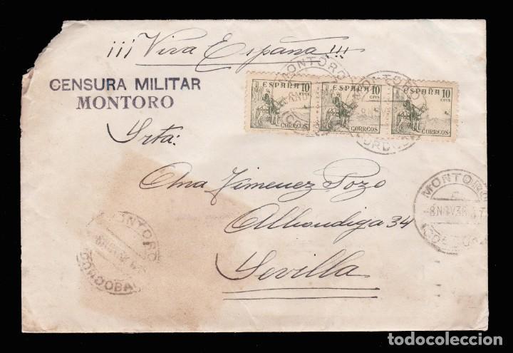 *** CARTA MONTORO-SEVILLA 1938. RARA Y MAGNÍFICA CENSURA MONTORO. EDIFIL 817 (BLQX3) *** (Sellos - España - Guerra Civil - De 1.936 a 1.939 - Cartas)